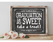Instant 'Graduation is so Sweet take a treat!'  Printable Graduation Sign Chalkboard Sign Dessert Table Graduation Party Size Options