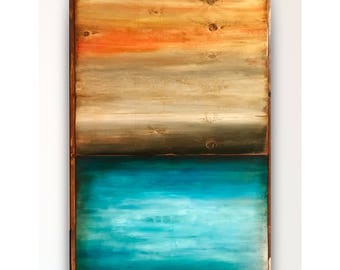 Reclaimed wood wall art,wood seascape,wood wall art,barn wood art,seascape clouds,wood art, abstract,Wall art,abstract painting,pallet art.