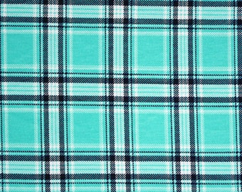 SALE! KNIT, Turquoise, Navy and White Selby Plaid Cotton Spandex Knit Fabric  5150