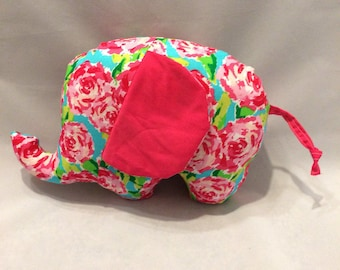 Pink and red floral stuffed elephant/nurser decor