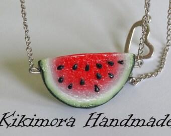 Watermelon pendant, Watermelon necklece, Fruit Pendant, Fruit Necklace, Polymer clay watermelon, Watermelon jewelry