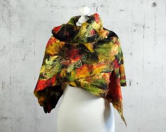 Felted Scarf,  felted Shawl, Cobweb,  merino wool,  wool scarf, red, black, green, yellow  -Feltmondo