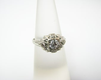 Beautiful Vintage .35 ct Center Diamond in 14k White Gold