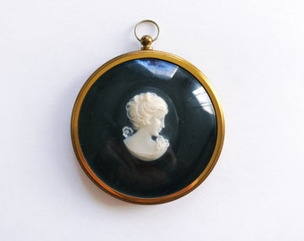 Vintage Black and White Cameo in a Glass Frame with Velvet Backing for Home Decor or Ornament