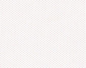 Pink Polka Dot Fabric, Sevenberry Petite Basics, Baby Pink and White Polka Dot, Robert Kaufman, End of the Bolt, 1 yard + 12, SB-88190D1-30