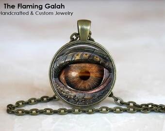 REPTILE EYE Pendant •  Snake Eye •  Dinosaur Eye •  Lizard Eye •  All Seeing Eye • Gift Under 20 • Made in Australia (P0622)