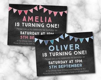 Birthday invitation, Digital File, PDF, DIY, 1st birthday invite, chalkboard design, Boy birthday, Girl birthday, birthday printable, A6