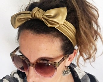 Matte Gold Pleather baby top knot headband