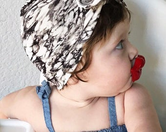 Marble baby turban hat with bow - baby hat - trendy newborn hat - baby shower gift - baby turban
