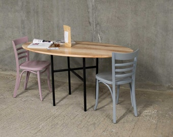 COLURE | Oval Dining Table | Ash Timber with Asymmetric Base
