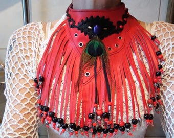 Collar,Choker,leather,red,with pearls,Eyeletts,Fringes,feathers,native jewellery,leather jewellery,Leather chain,leather necklace