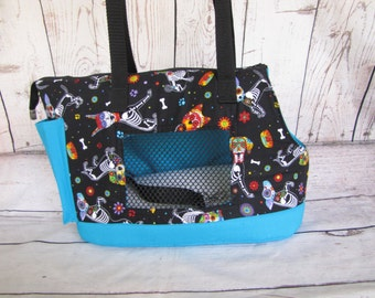 Large black and blue dog carrier