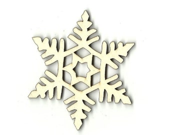 Snowflake - Unfinished Laser Wood Cut Out Shape Craft Supply SNW57