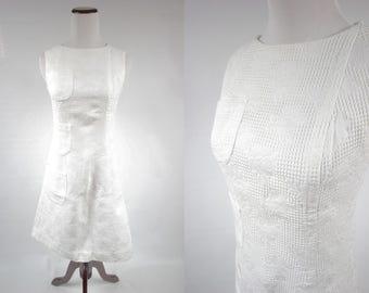 1960's White Floral Cotton Sleeveless Mod Pocket Dress
