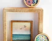 Set of 3 Miniature Artworks - Ocean birds and Flowers