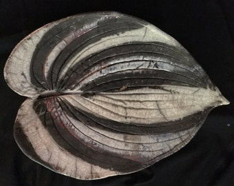 Ceramic Hosta LEAF Decorative Plate Wall Hanging Raku Dacar