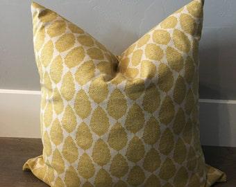 Medallion Yellow Down Feather Pillow