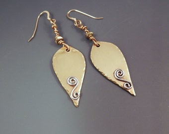 CLEARANCE- Golden Leaves- Shiny Hammered Gold- Nature Inspired- Boho Mixed Metal Earrings