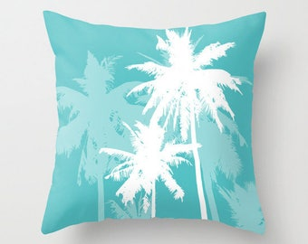 Palm Trees Pillow  - Tropical Beach Decor - Turquoise and White - Modern Home Decor - By Aldari Home