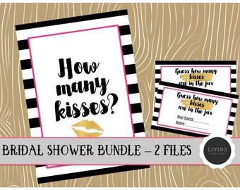 How Many Kisses Bridal Shower Game | 2 Pieces | Instant Download | Kate Spade Bridal Shower Inspired | Guess How Many Game | Bridal Shower