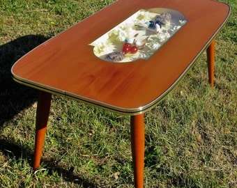 Mid Century Modern Coffee Side Table Teak Florentine Hollywood Regency Birds