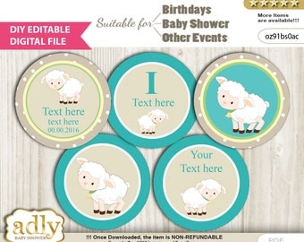 DIY Editable Neutral Lamb Cupcake Toppers Digital File, print at home favor tags birthday, baby shower, baptism Beige - oz91bs0ac