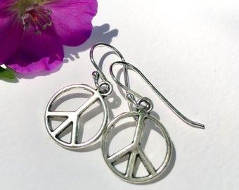 Peace Sign Earrings Boho Jewelry Womens Gift for Teen Girl Gift Under 15 Gift for Girlfriend Gift for Sister Gift for Mom Gift Peace Jewelry
