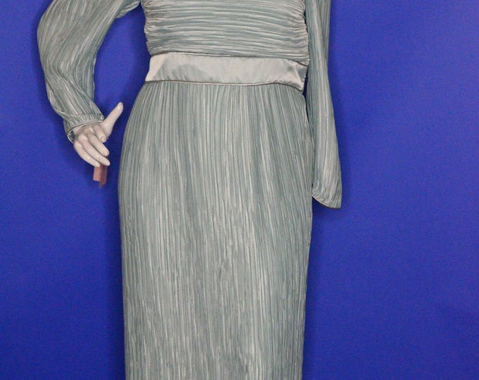 Vintage Estate George F. Couture Blue Pleated Black Tie Cruise Evening Wedding Formal Dress Made in USA NWT