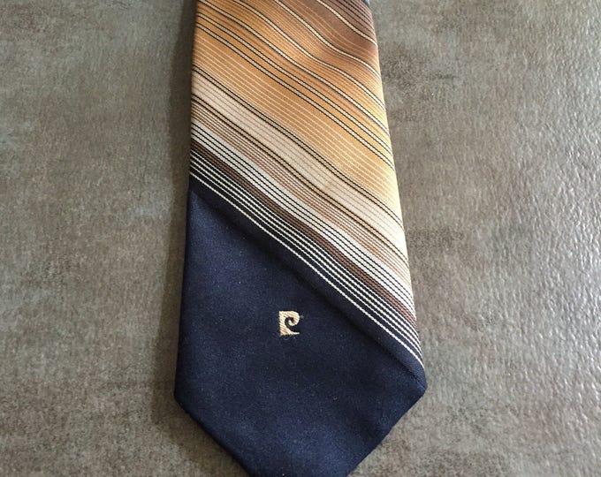 Vintage Estate AUTHENTIC Pierre Cardin Navy Blue Brown Cream Slanted Stripe Print Tie