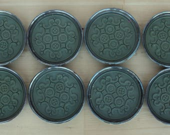 Gorham vintage coaster set Pattern YC1436 silver plate inset with dark sage green resin scroll design