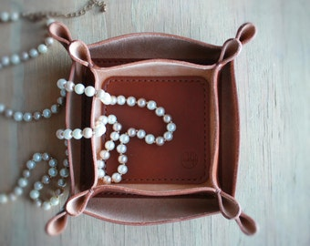 Sydney Leather Tray - Caramel - Veg tanned Italian leather tray   Valet tray   Jewellery tray   Wedding