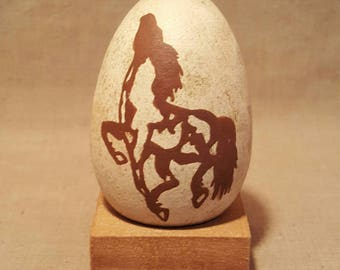 Hand Painted Wood Egg, Horse, Wooden, Abstract, Stand, Display, Decor, Paint, Brown