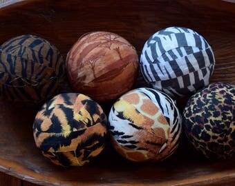 African Safari Decorative Fabric Rag Balls, Fabric Chotchkies, Fabric balls, rag balls, bowl fillers--set of 6 3 inch balls