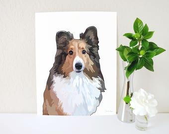 Sheltie Art Print, Shetland Sheepdog Print, Shelties Painting, Sheltie Gift, Dog Breed Gift, Memorial, Dog Lover Gift, Dog Portrait, Dog Art