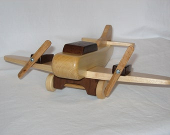 Handcrafted Wooden Toy Airplane, Twin Engine Model, Heirloom Toys, Individually Handmade, Free Shipping