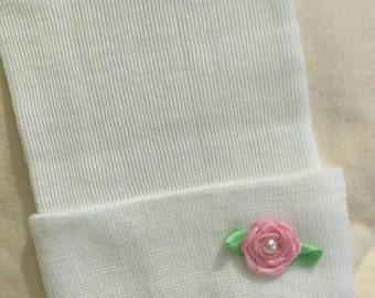 EXCLUSIVE! Newborn Hospital Beanie Hat. Hat Sweet Small fabric Flower with Pearl.  Newborn Beanie called The Ella! Great Gift