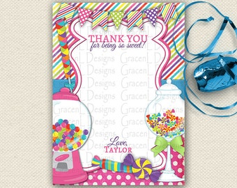 Thank You Candy Invitation, Sweet Shop Invitation, Candyland Invitation, Sweet Shoppe Invitation, Candy Land Invitation, Thank You Card