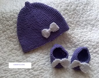 2 piece set size newborn to 1 month purple bow baby white