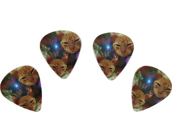 4 GALAXY CATS guitar picks, Custom Guitar Pick, Custom Guitar Picks, Personalized Guitar Pick