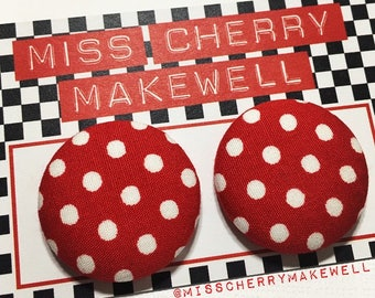Minnie Mouse Betty Boop Red White Polka Dot Fabric Button Rockabilly 1950's Pin Up Vintage Inspired Stud Earrings By Miss Cherry Makewell