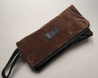 Brown suede leather clutch | Recycled leather bag | Large leather pouch | Oversized clutch bag | Suede Lunch bag | Suede purse