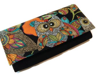 Owl cell phone wallet, clutch wallet, iphone wallet, accordian wallet