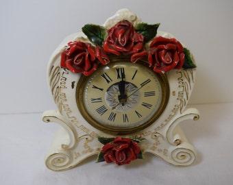 Vintage Lanshire Electric Rose Shelf Clock