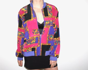 Colorful Pink and Purple 90's Silk Zip Up Windbreaker