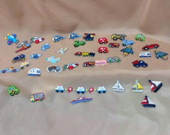 Wholesale Lot   40pcs  embroidered  cartoon   transportation car truck boat plane  sewing iron on patch  about 2cm