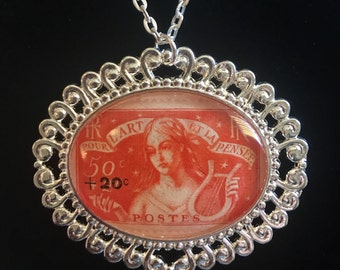 French Postage Stamp Necklace