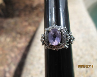 Art Deco 2CT Natural Amethyst 925 Sterling Silver Filigree Ring Sz 7, Weight 2.8 Grams