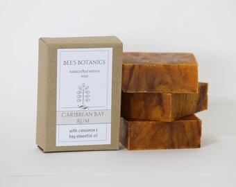 CARIBBEAN BAY RUM - Bee's Botanics Handmade Soap - 100% Natural & Vegan - cold Process - 4 ounce bar