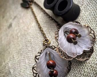 "Magnetic Ebony Tunnels w/ Lily Dangles-Sizes 0g(6mm)-1""(26mm)Wood Gauges/Eyelets/Wood Stretchers/Wedding/Formal/Hippie/Flower/Black"