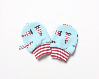 Blue and red baby mittens with lighthouses, baby scratch mitts, knit fabric. Baby Gift Boy or Girl Hand Covers Gender neutral. shower gift